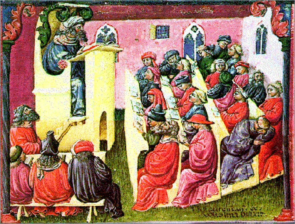 Universiteit van Bologna, Italy, door Laurentius de Voltolina, 14th Century.
